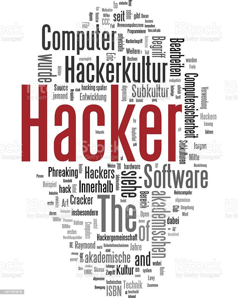 Hacker tag cloud stock photo