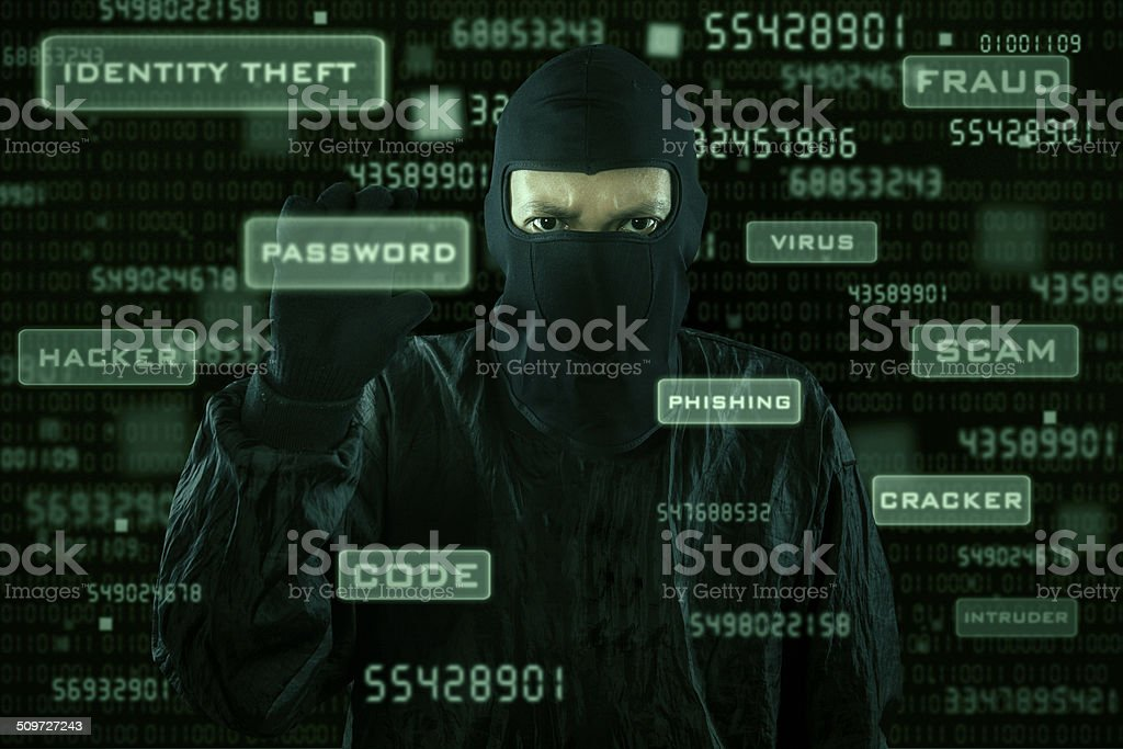Hacker taking password from modern interface stock photo