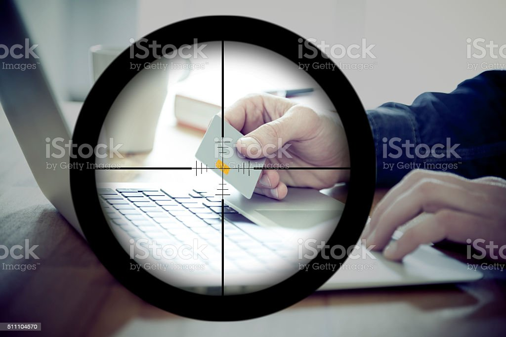 Hacker Targeting Online Shoppers for Identity Theft stock photo