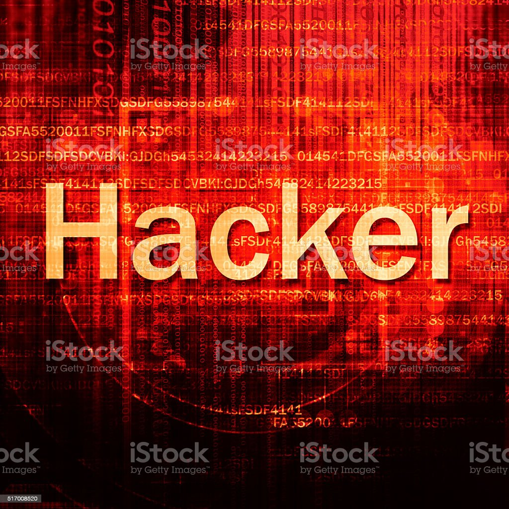 Hacker Text In red Code Background stock photo