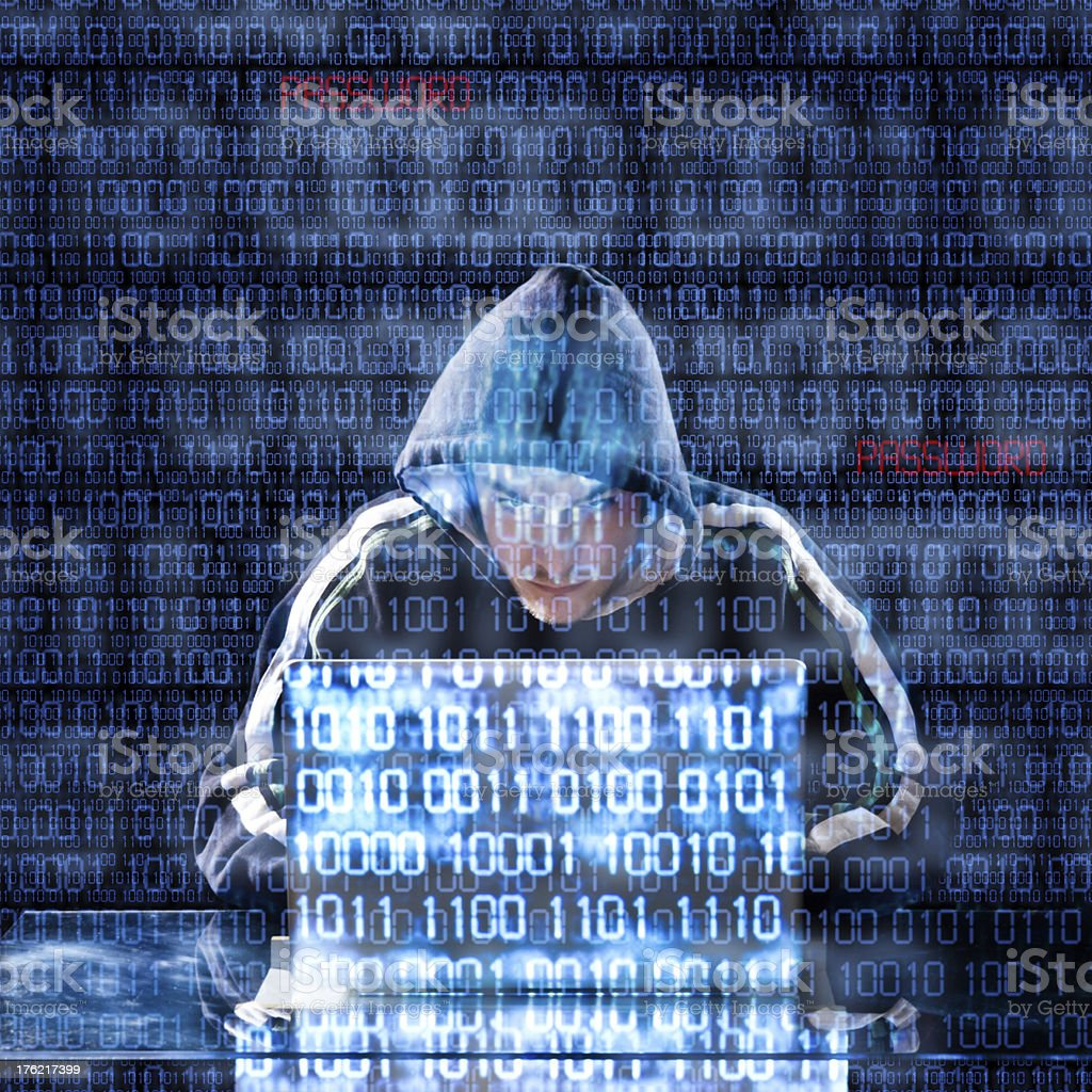 Hacker typing on a laptop royalty-free stock photo