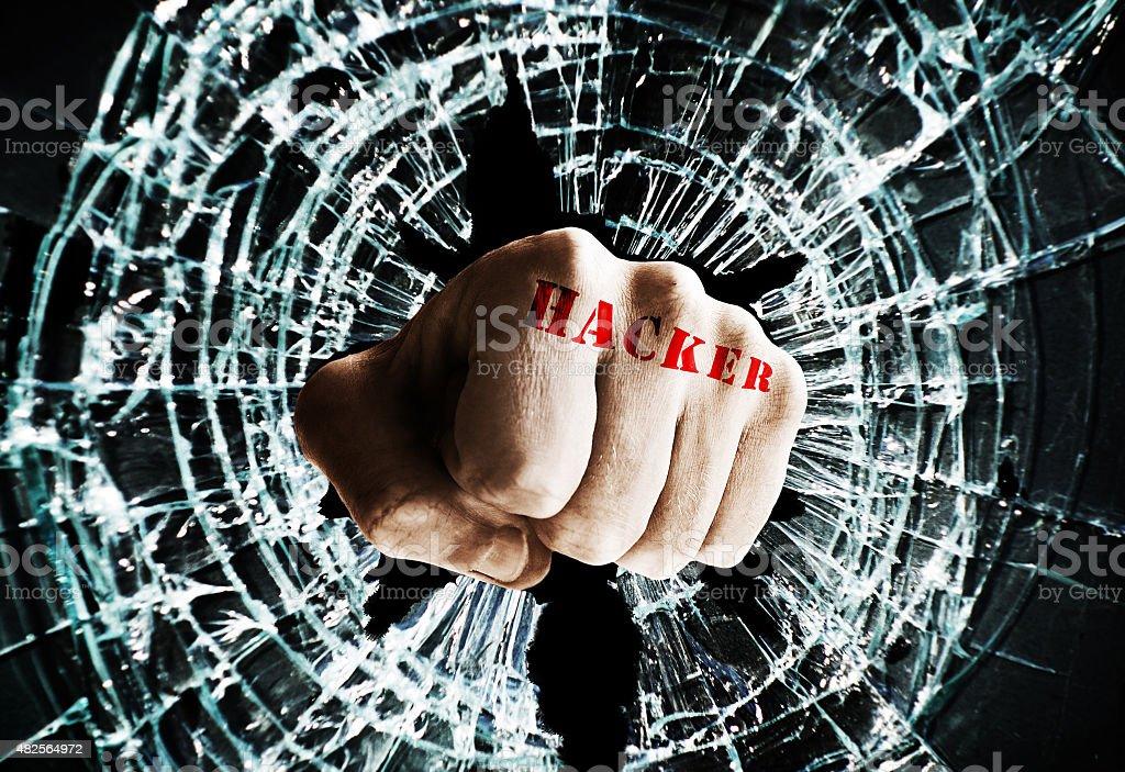 Hacker window fist stock photo