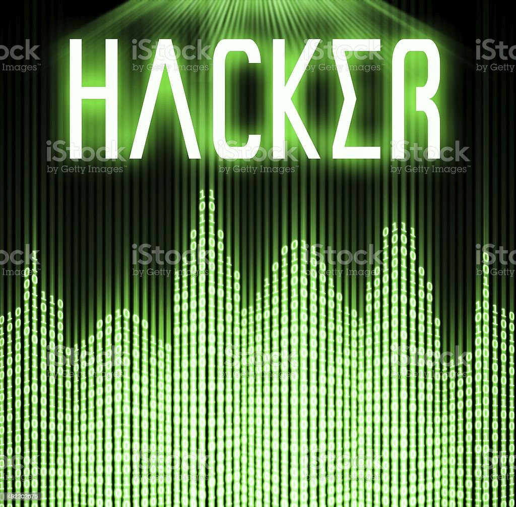 Hacker with cyber binary code background stock photo