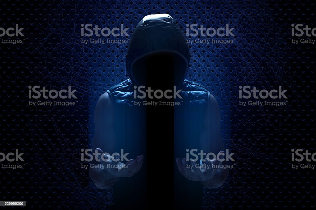 Hacker with dark consepts stock photo