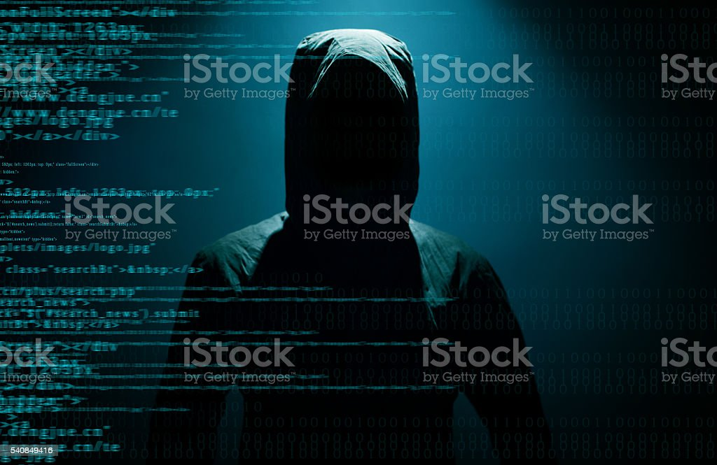 Hacker with internet stock photo