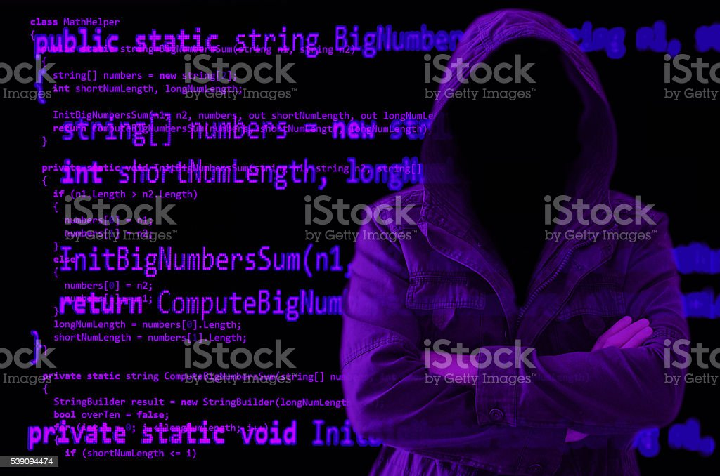 Hacker without face surrounded by source code stock photo