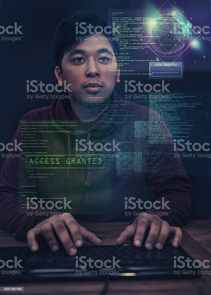 Hacking int the new age stock photo
