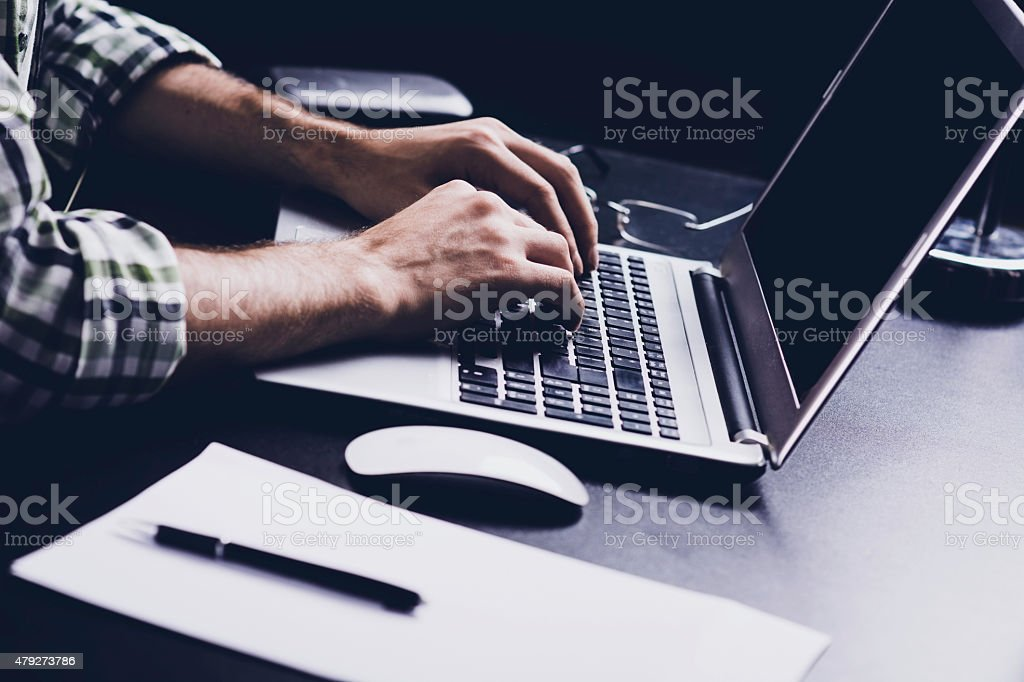 Hacking the system stock photo