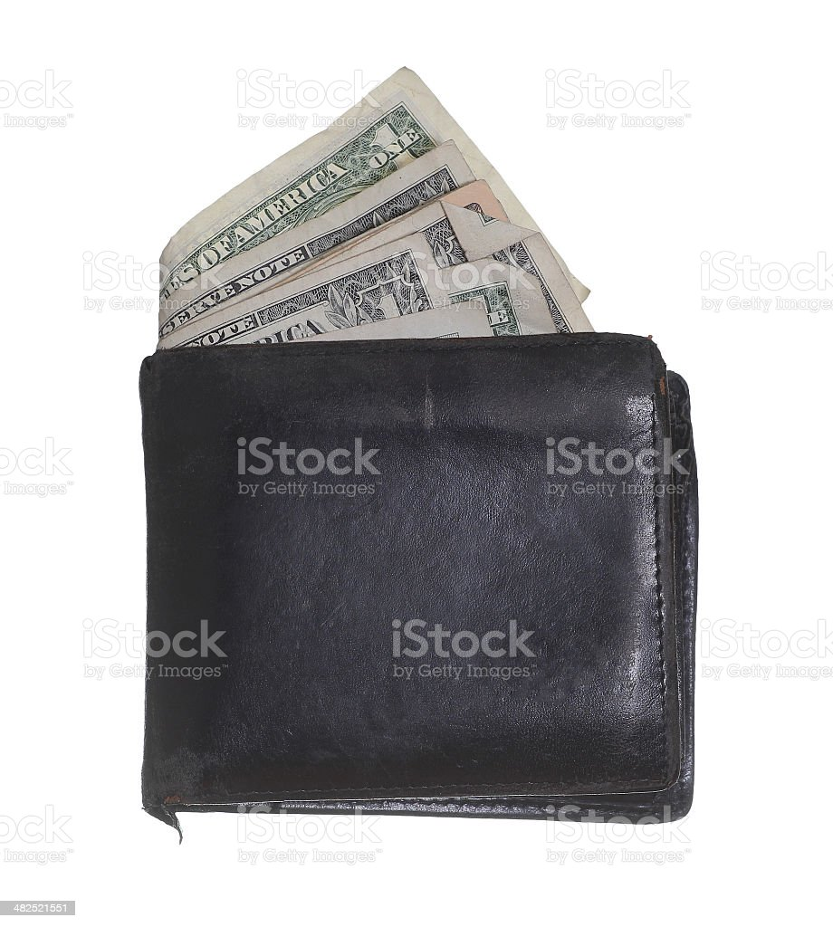 hackneyed purse with dollars royalty-free stock photo