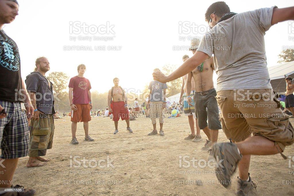 Hacky Sack circle at a music festival stock photo