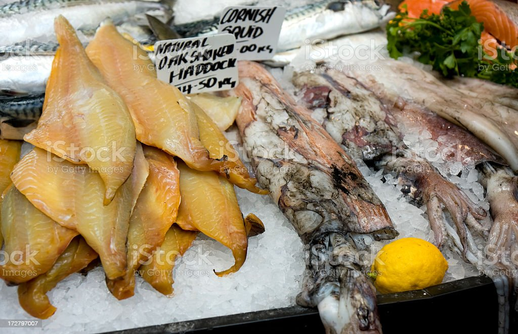 Haddock and squid stock photo