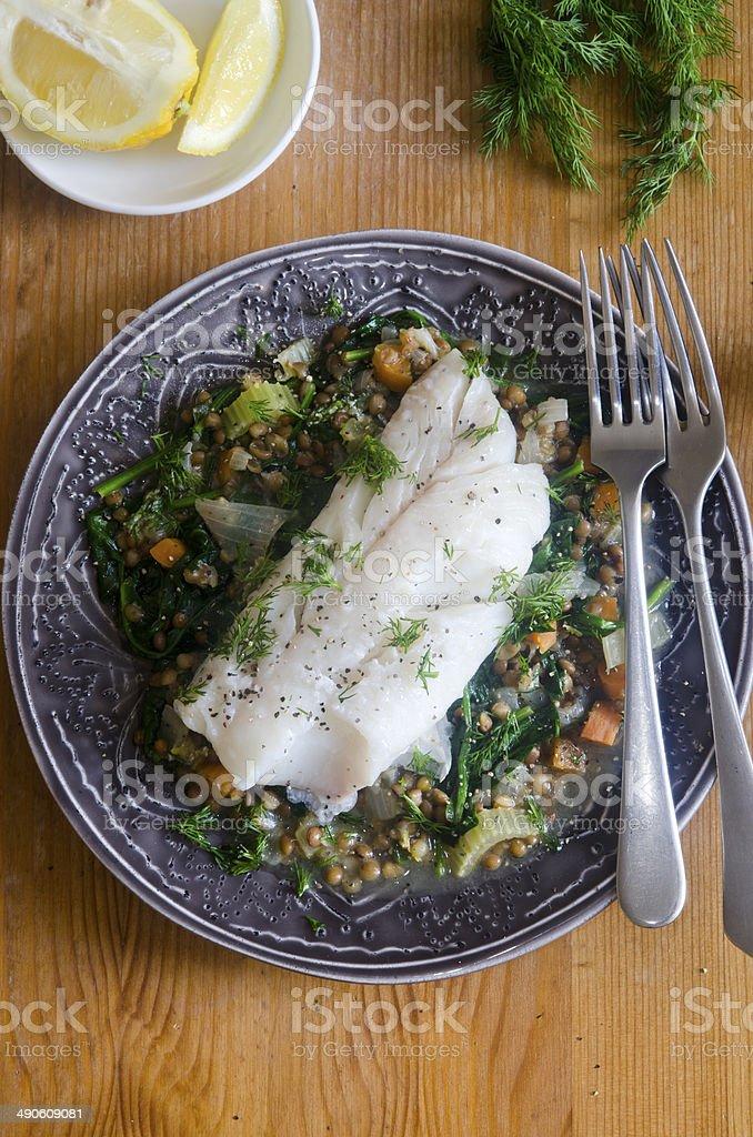 Haddock with lentils stock photo