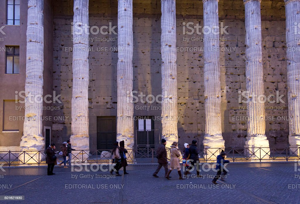 Hadrian temple colonnade in Rome at sunset light stock photo