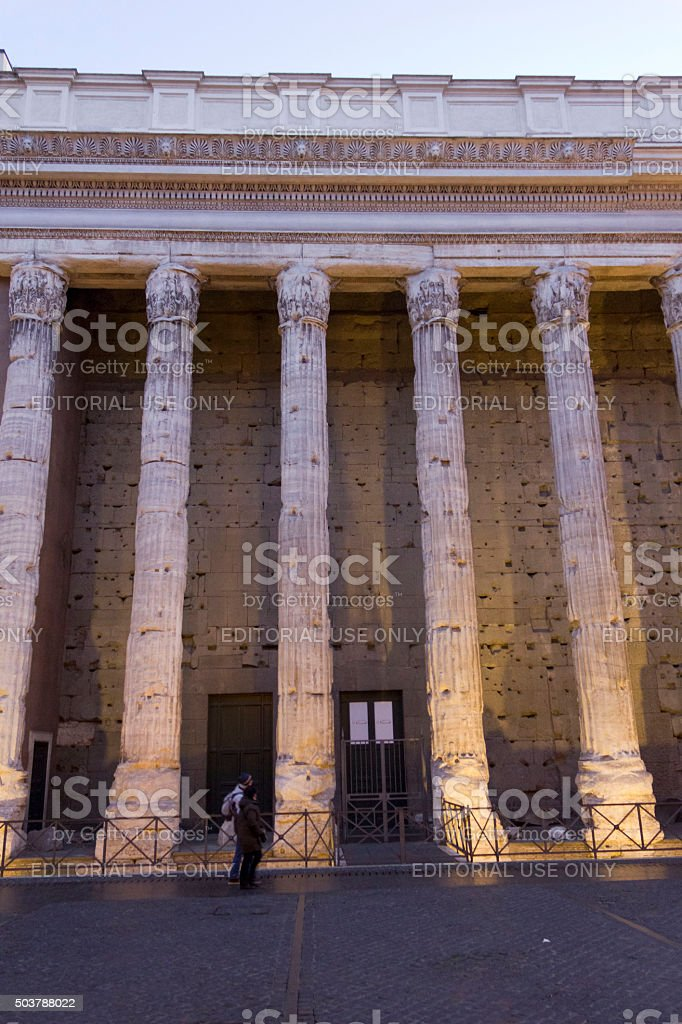 Hadrian temple colonnade in Rome stock photo