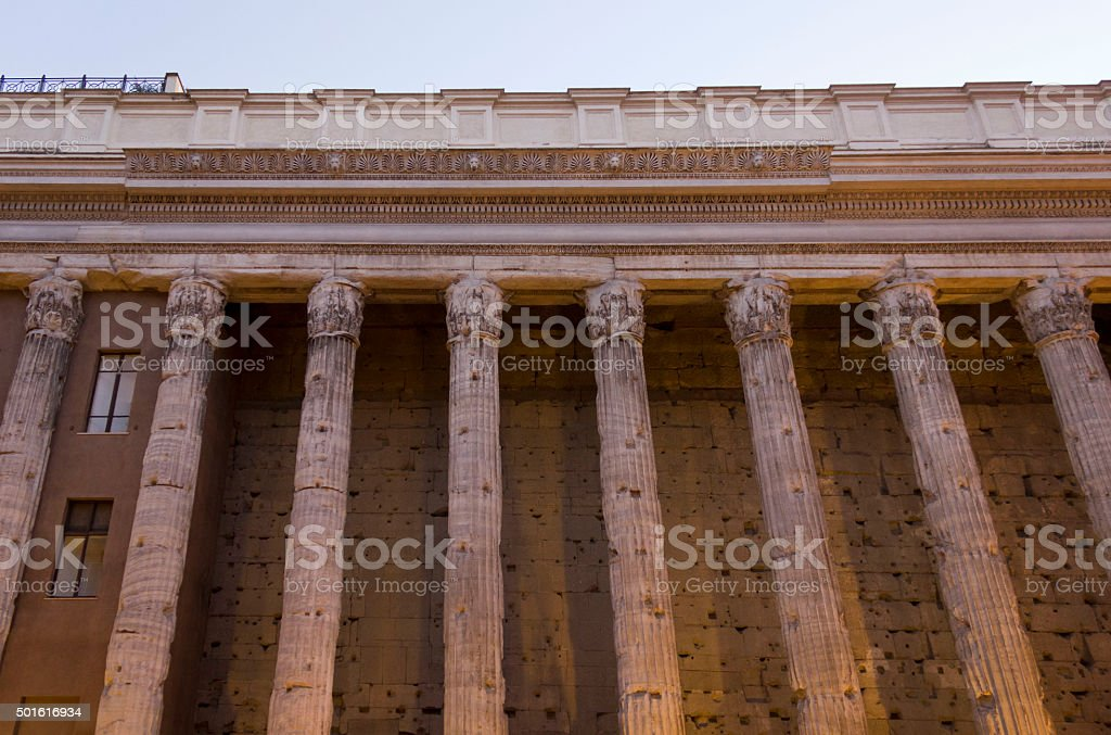 Hadrian temple colonnade stock photo