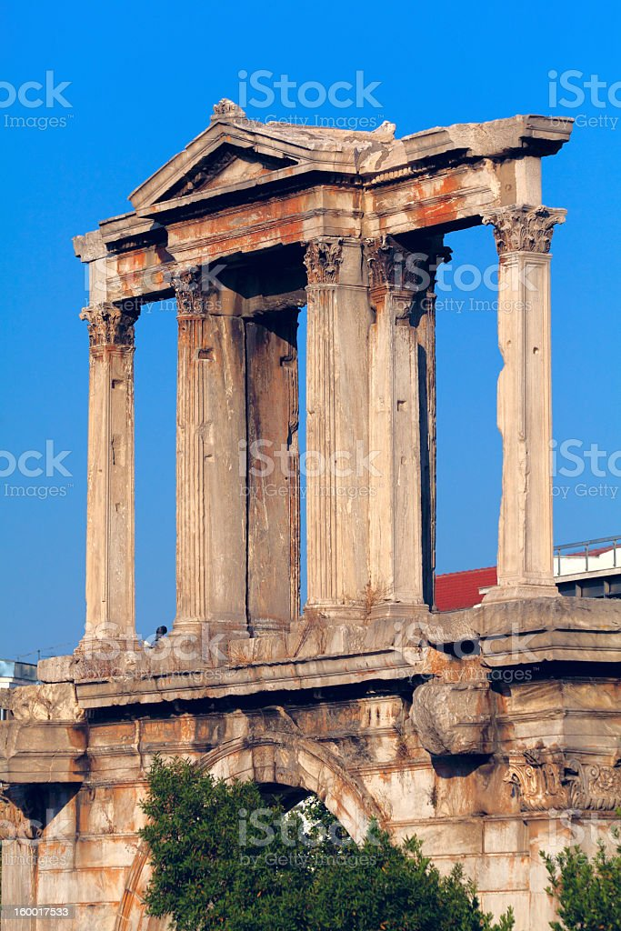 Hadrian´s Arch, in the back Acropolis, Athens, Greece royalty-free stock photo