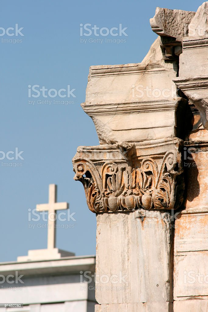 Hadrian's Arch and cross royalty-free stock photo