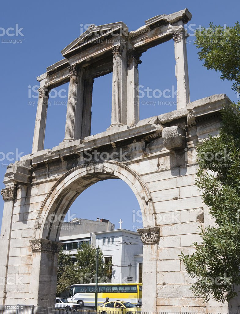 Hadrian's Arch Cityscape stock photo