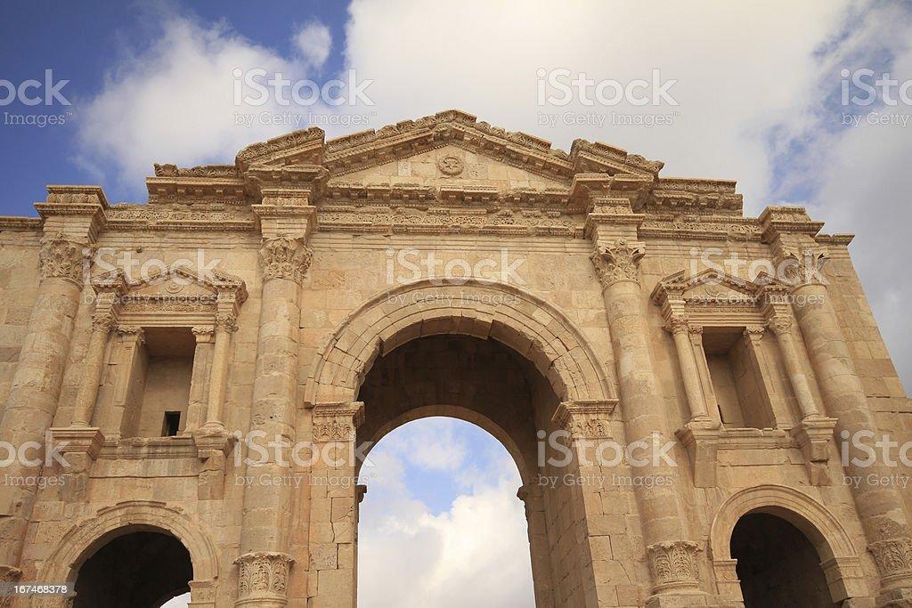 Hadrian's Arch,Jarash Jordan royalty-free stock photo