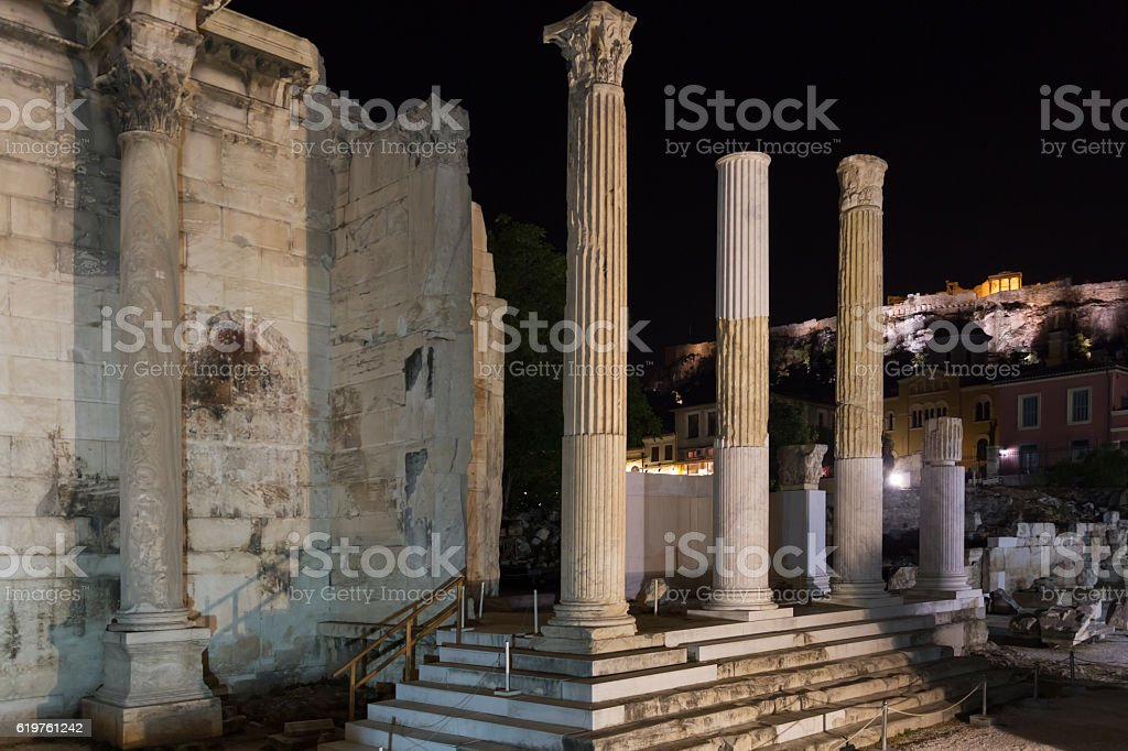 Hadrian's Library and the Acropolis, Athens,  Greece- evening ph stock photo