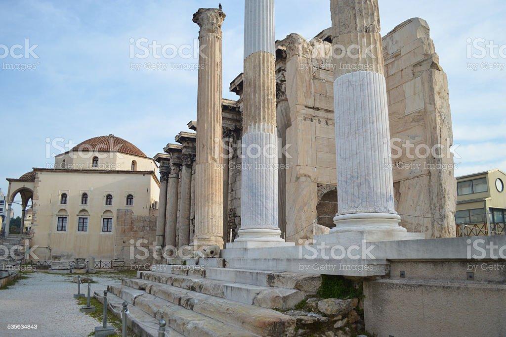 Biblioteca de adriano en Atenas foto de stock libre de derechos