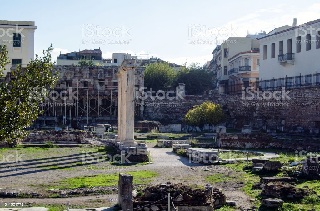 Hadrian's Library stock photo