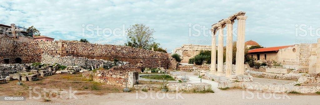 Hadrian's Library, the Acropolis of Athens, Greece stock photo