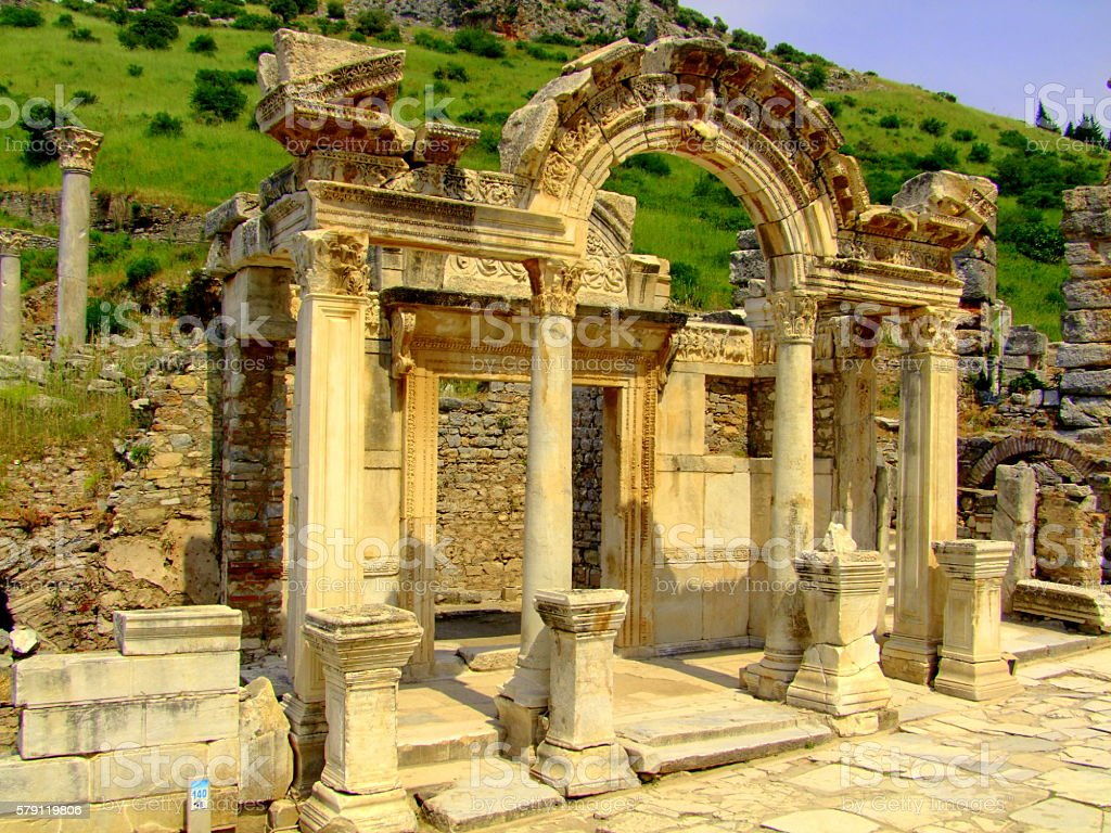 Hadrian's Temple, Ephesus, Turkey stock photo
