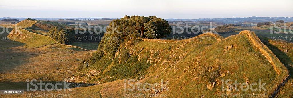 Hadrian's Wall at Sunset stock photo