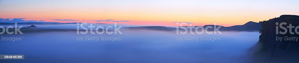 Hadrian's Wall Dawn Panorama stock photo