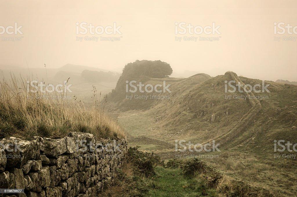 Hadrian's Wall Fog stock photo