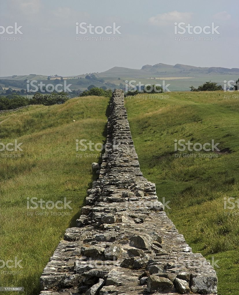 Hadrian's wall in Northern England royalty-free stock photo