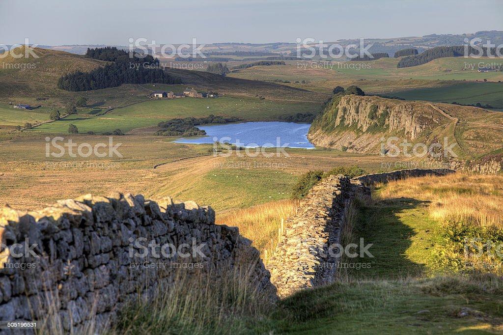 Hadrian's Wall looking East towards Crag Lough stock photo