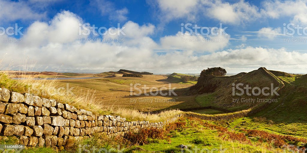 Hadrian's Wall, near Housesteads Fort in early morning light stock photo