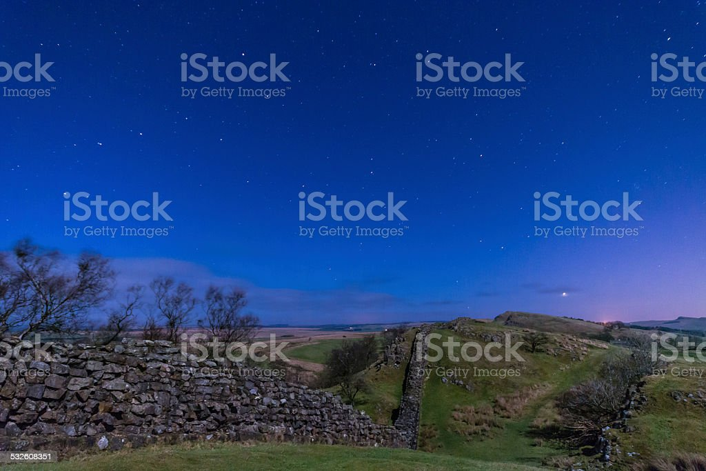 Hadrians Wall near Walltown at night stock photo