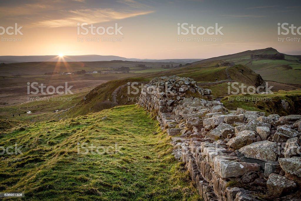 Hadrian's Wall- Sunset stock photo