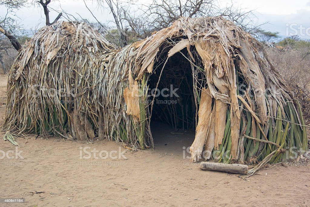 Hadzabe Hut stock photo