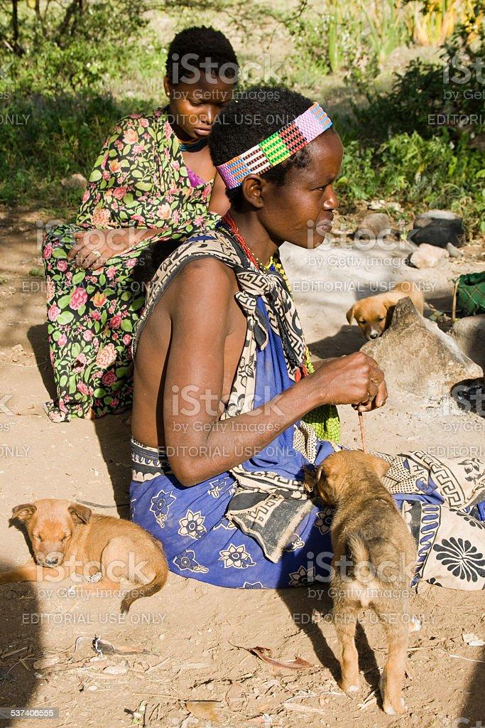 Hadzabe woman stock photo