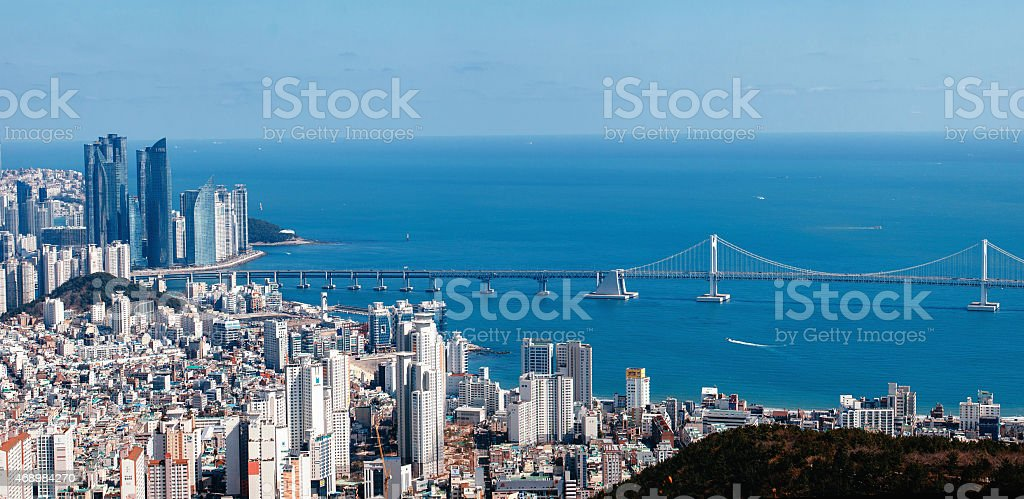 Haeundae and Gwangan Bridge in Pusan, Korea stock photo