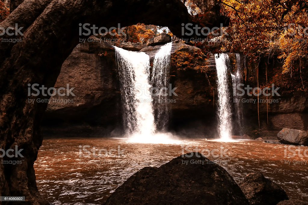 Haew Suwat Waterfall at Khao Yai National Park in Thailandl stock photo