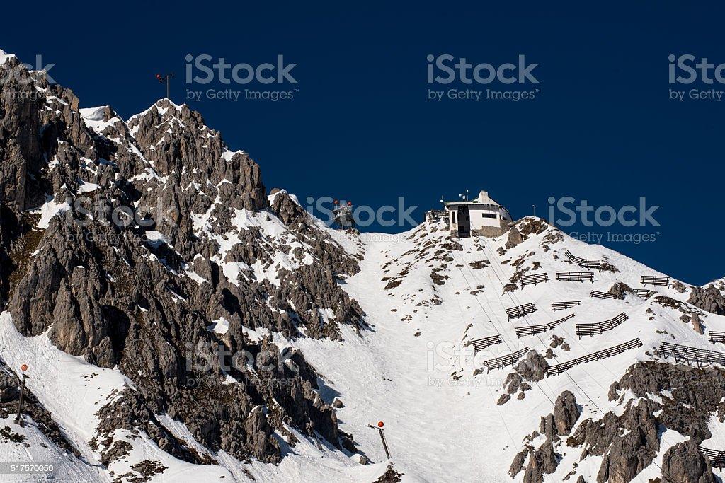 Hafelekar with Seilbahnrinne over Innsbruck stock photo