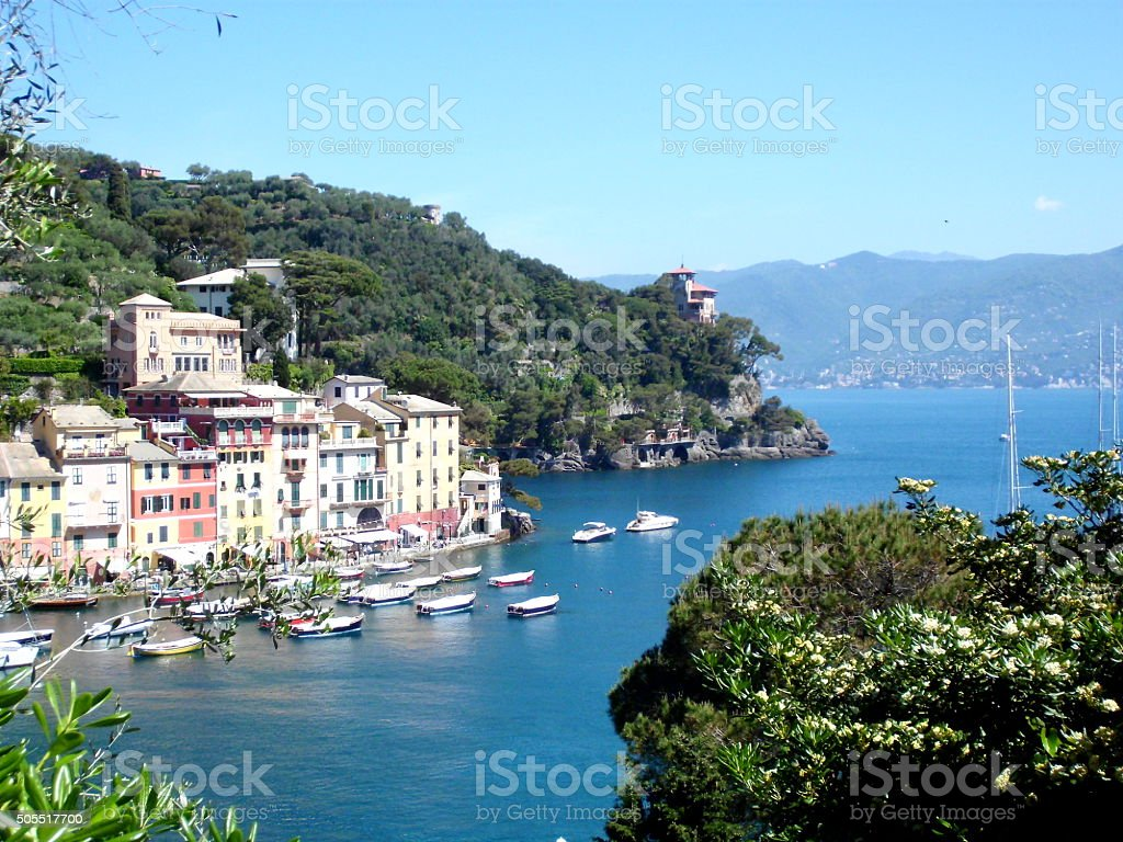 Hafenansicht Portofino, Ligurien, Italien stock photo