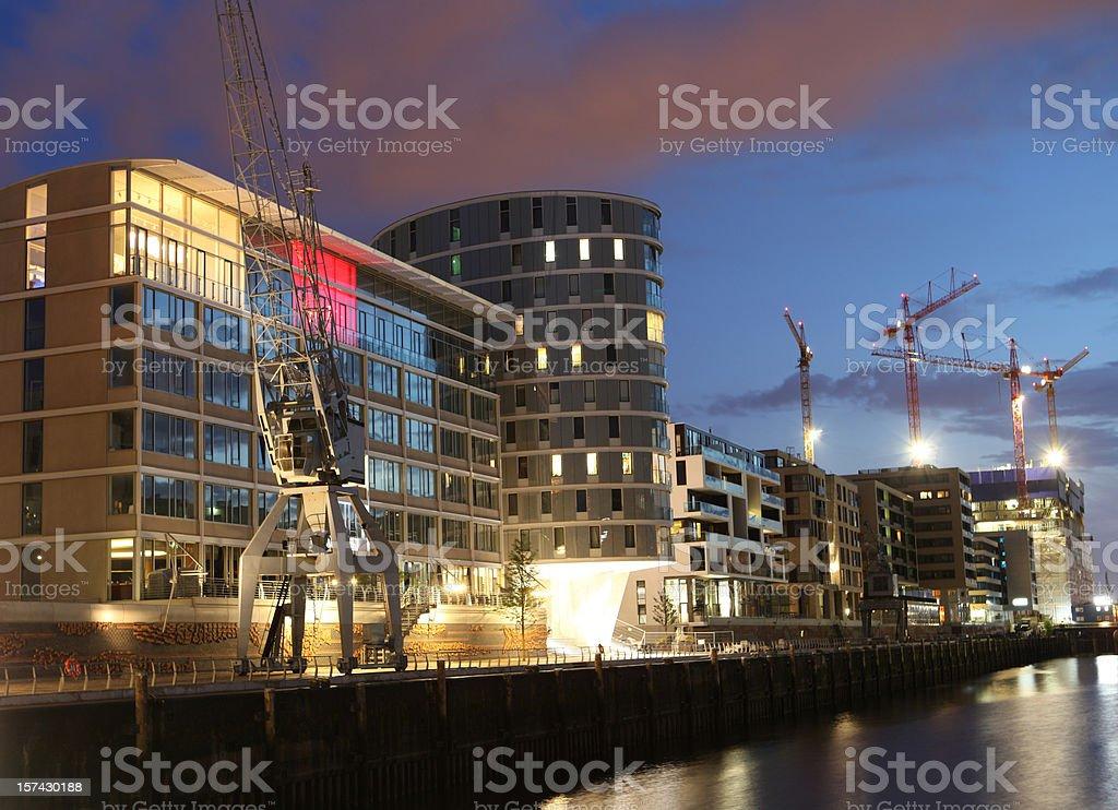 HafenCity Hamburg in the night stock photo