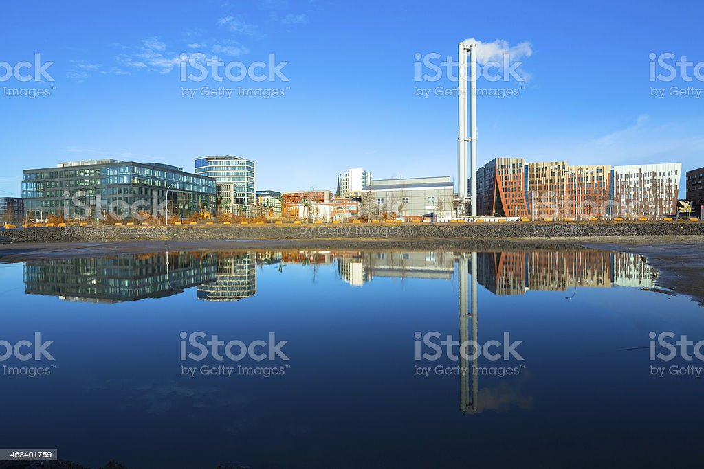 HafenCity in the mirror stock photo
