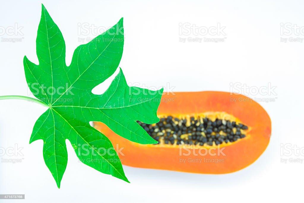 Haft cut papaya fruit and papaya leaf royalty-free stock photo