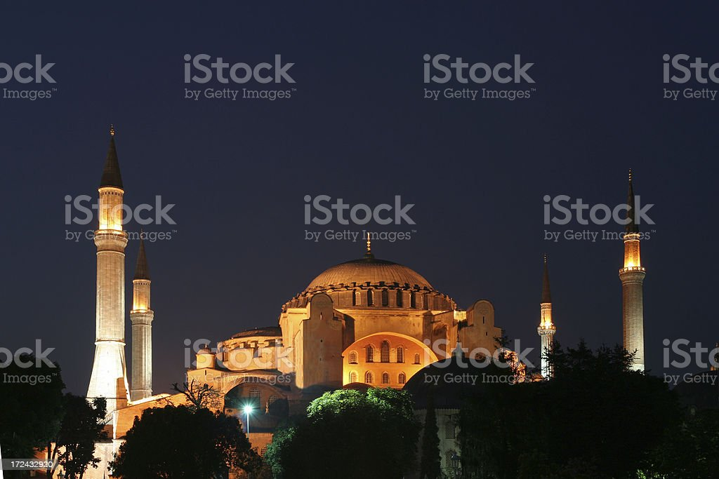 Hagia Sophia at night royalty-free stock photo