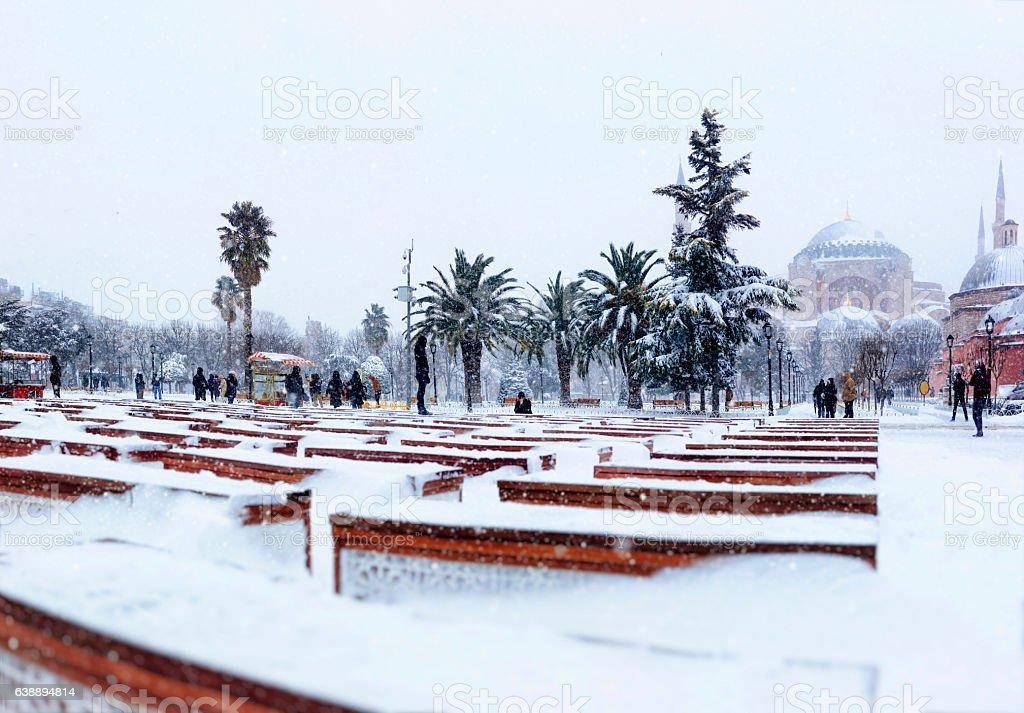 Hagia Sophia in winter season at Istanbul,Turkey stock photo