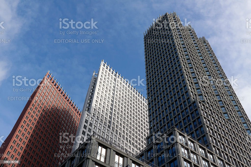 Hague skyline formed by the Wijnhaven stock photo