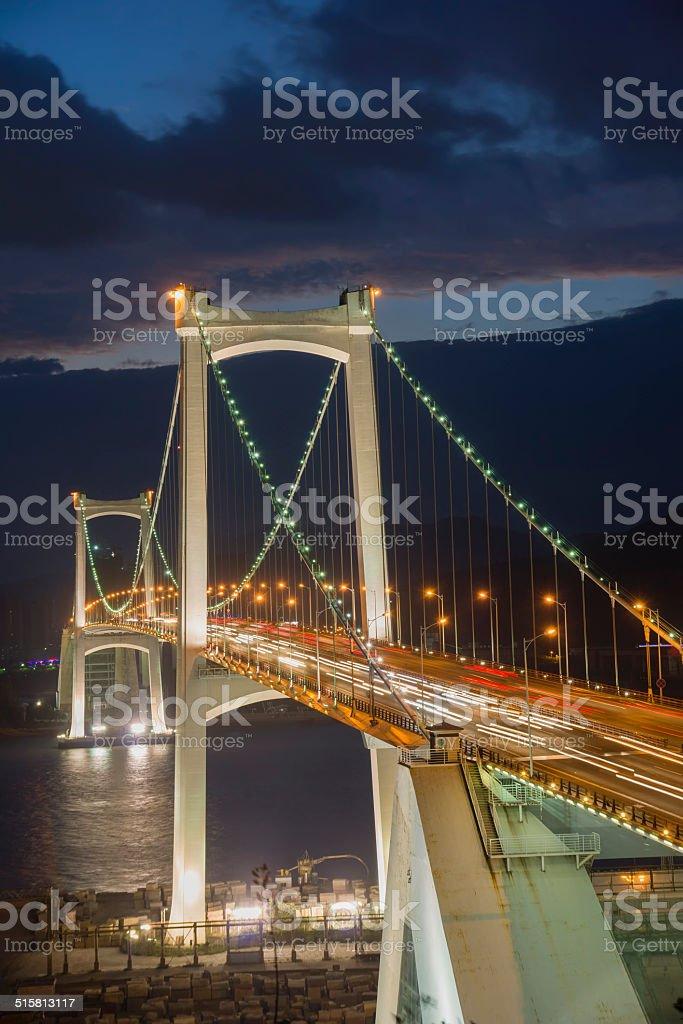 Haicang bridge at dusk stock photo