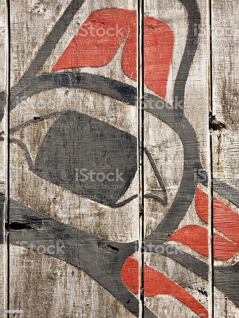 Haida Gwaii Longhouse Artwork Detail stock photo